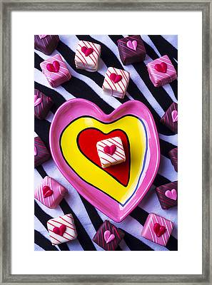 Candy Dish And Hearts Framed Print by Garry Gay