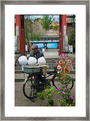 Candy Floss Vendor Selling Cotton Framed Print by Panoramic Images