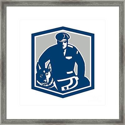 Canine Policeman With Police Dog Retro Framed Print by Aloysius Patrimonio
