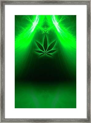 Cannabis Leaf Digital Illustration Framed Print by Stock Pot Images