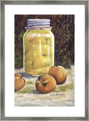 Framed Print featuring the painting Canned Peaches by Claude Schneider