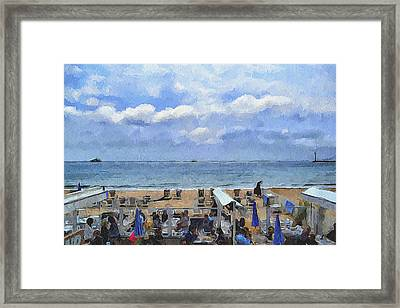 Cannes Beach At Breakfast Framed Print