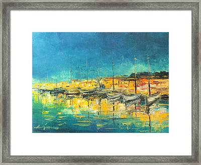 Cannes By Night Framed Print