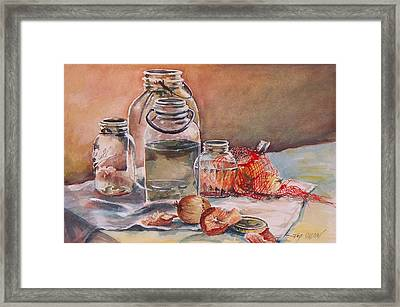 Canning Jars And Onions Framed Print by Joy Nichols