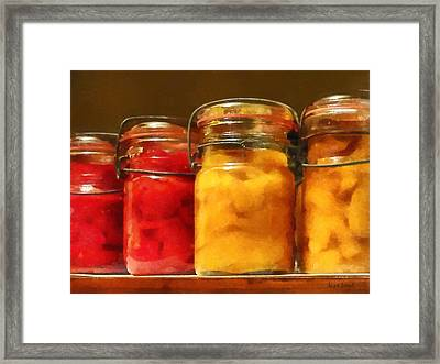Canning Jars Of Tomatoes And Peaches Framed Print by Susan Savad