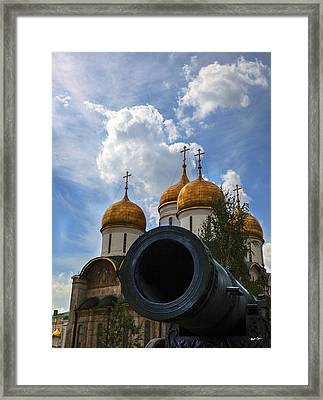 Cannon And Cathedral  - Russia Framed Print