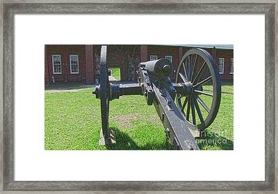 Cannon At Fort Pulaski Main Entrance Framed Print by D Wallace
