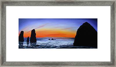 Cannon Beach At Sunset 16 Framed Print by Portland Art Creations