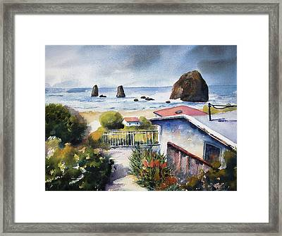 Framed Print featuring the painting Cannon Beach Cottage by Marti Green