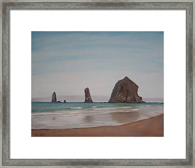Cannon Beach Haystack Rock Framed Print