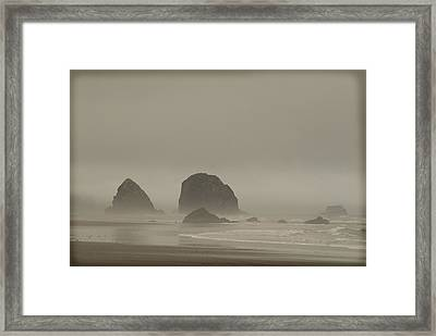 Cannon Beach In A Fog Oregon Framed Print
