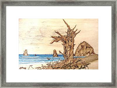 Cannon Beach In October Framed Print by Roger Storey