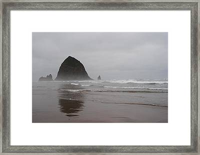 Framed Print featuring the photograph Cannon Beach In The Mist by Robert  Moss