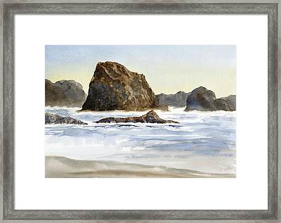 Cannon Beach Rocks With Waves Framed Print by Sharon Freeman