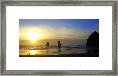 Cannon Beach Sunset Framed Print by DerekTXFactor Creative