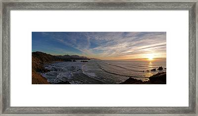 Cannon Beach Sunset Framed Print by Mike Reid