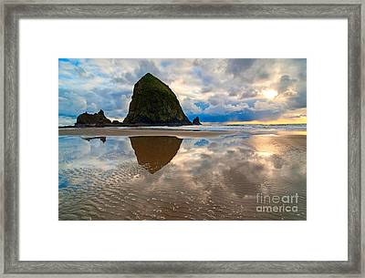 Cannon Beach With Storm Clouds In Oregon Coast Framed Print by Jamie Pham