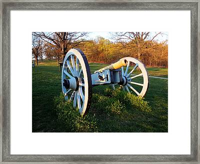 Framed Print featuring the photograph Cannon In The Grass by Michael Porchik