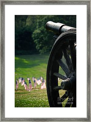 Cannon Memorial With American Flags Framed Print by Amy Cicconi