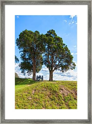 Cannon On A Hill Framed Print by John M Bailey