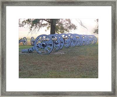 Framed Print featuring the photograph Cannon's In Fog by Michael Porchik