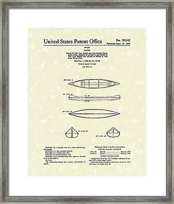 Canoe 1963 Patent Art Framed Print by Prior Art Design
