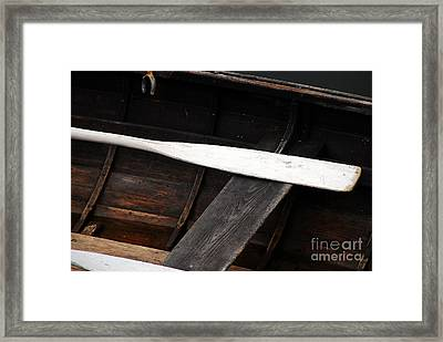 Framed Print featuring the photograph Canoe And Oar by Mary Carol Story