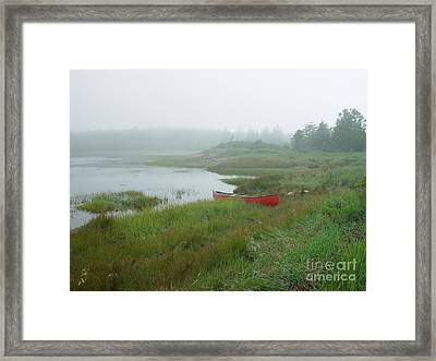 Canoe At Point Of Maine Framed Print by Christopher Mace