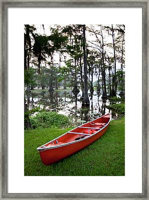Canoe By Caddo Lake, Texas's Largest Framed Print by Larry Ditto
