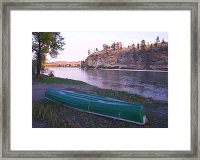 Canoe By River Framed Print