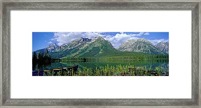 Canoe Leigh Lake Grand Teton National Framed Print by Panoramic Images