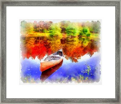 Canoe On Autumn Pond Framed Print by Anthony Caruso