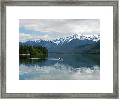 Canoe On Baker Lake Framed Print by Karen Molenaar Terrell
