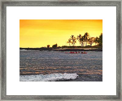 Canoe On Kona Coast Framed Print by Athala Carole Bruckner