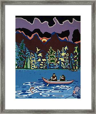 Framed Print featuring the painting Canoe On Lightning Lake by Joyce Gebauer