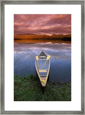 Canoe On Otter Lake Evening Light Framed Print by Michael DeYoung