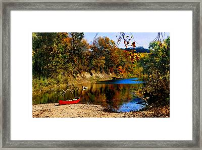 Framed Print featuring the photograph Canoe On The Gasconade River by Steve Karol