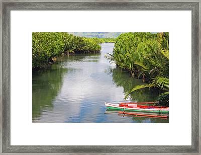 Canoe On The River, Bohol Island Framed Print by Keren Su