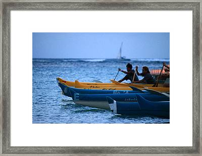 Canoe Paddling Framed Print by Saya Studios