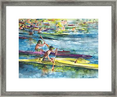Canoe Race In Polynesia Framed Print by Miki De Goodaboom