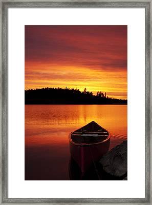 Canoe Sunset Framed Print
