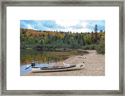 Canoe With An Engine Framed Print