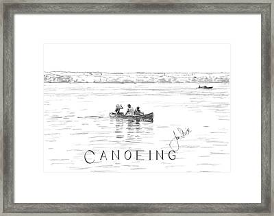 Canoeing On The Lake Framed Print by Jan Stride