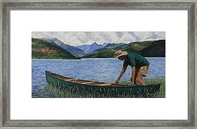 Canoeing Vallecito Framed Print by Timithy L Gordon