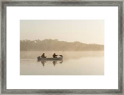 Canoeists At Dawn Everglades Np Florida Framed Print