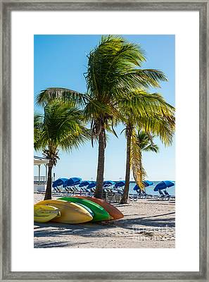 Canoes And Palms - Higgs Beach Key West  Framed Print by Ian Monk