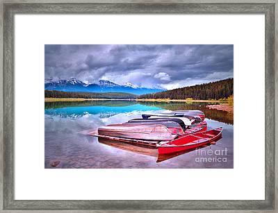 Canoes At Lake Patricia Framed Print by Tara Turner