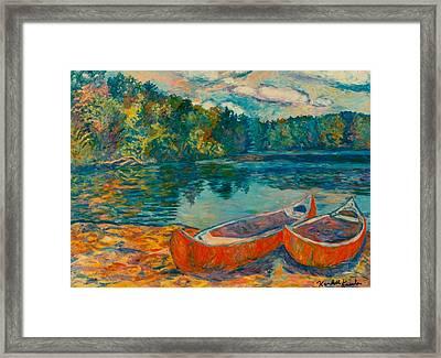 Canoes At Mountain Lake Framed Print