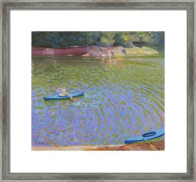 Canoes At The Lac De Pannaciere  Framed Print by Ben Rikken