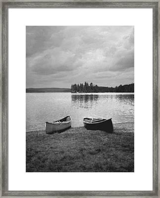 Canoes - Canisbay Lake - B N W Framed Print
